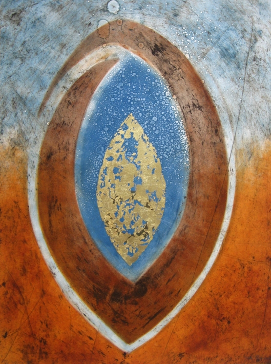 "Glen Rogers, ""The Source"", 30"" x 22"", monotype w. gold leaf"