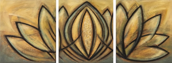 Golden Lotus Triptych